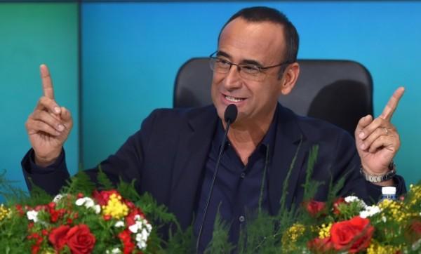 Carlo Conti durante la conferenza stampa conclusiva della 65ma edizione del festival della canzone, Sanremo, 15 febbraio 2015. ANSA/ETTORE FERRARI